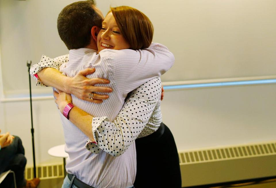 Long just graduated from a coding bootcamp run by Startup Institute, where she hugged director Allan Telio.